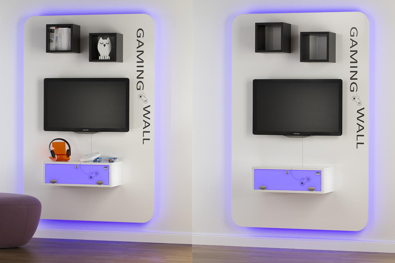 gaming wall. Black Bedroom Furniture Sets. Home Design Ideas